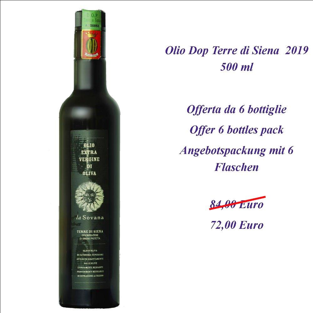 Il nostro Olio Extra Vergine Certificato Dop Terre di Siena con un prezzo speciale per confezioni da 6 bottiglie da 500 ml.